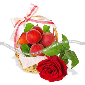 Pleasure for favorite - basket with roses and peaches